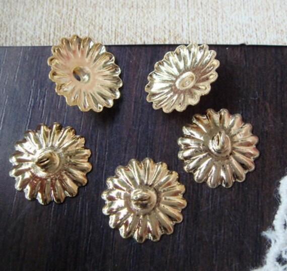 10 pcs - 12mm  Brass  Round Beads Cap With 1 Loop -Nickel Free