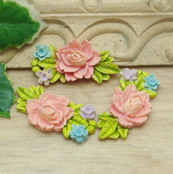 3 Pcs Beautiful  Flowers Cabochon Colourful,-Hand Painted  (CHBF-20)