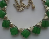 Vintage 1950s Green Lucite Necklace