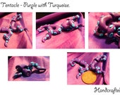 Purple and turquoise Tentacle earrings squid octopus twisted