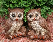 FINAL Discount Set of 2 Owl Figurine Wall Hangings