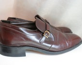 Men's Easy Flex Buckle Shoes Size 11 Burgundy Leather