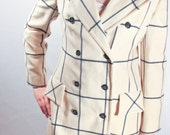 Evan Picone Long Pea Coat Womens Medium Navy and Cream