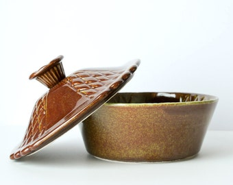 California Pottery Brown Lidded Ceramic Dish