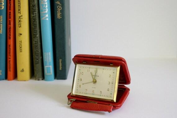 SALE Semca Travel Clock RARE Red Suitcase Design Leather