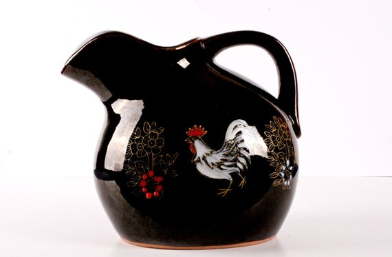 Black Ceramic Rooster Pitcher