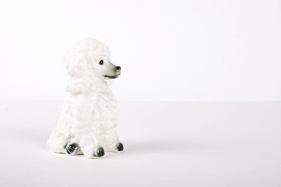 Retro White / Gray Poodle Dog Puppy Ceramic Figurine Small Gift Decor