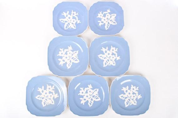 Vintage Cameoware by Harker Pottery Blue & white flower scalloped edge dessert plates Set of 6