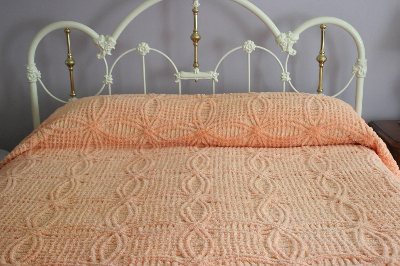 Double Reduced Orange Sherbert Peach Chenille Bedspread Queen