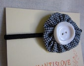 Houndstooth flower Hair tie with vintage button FREE SHIPPING
