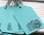 Camera Gift Tags -Turquoise with Baker's Twine
