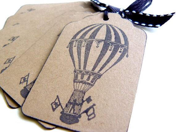 Balloon Tag: Vintage Hot Air Balloon Gift Tags Circus Carnival Favors