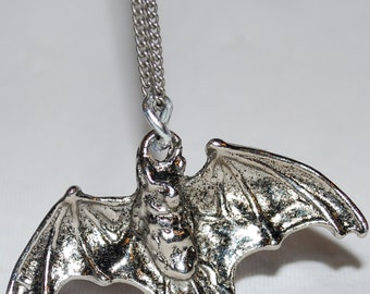 Festive Silver Bat Pendant Necklace