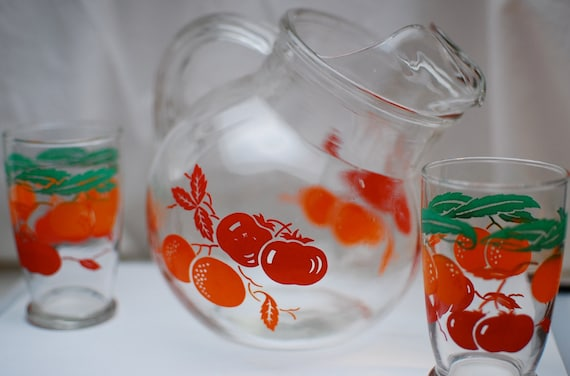Retro Apple and Orange Pitcher with 2 Matching Glasses
