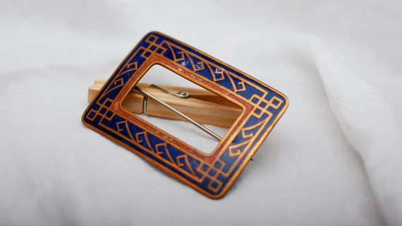RESERVED FOR MODBLOSSOM Vintage Ornate Blue and Copper Colored Buckle Brooch