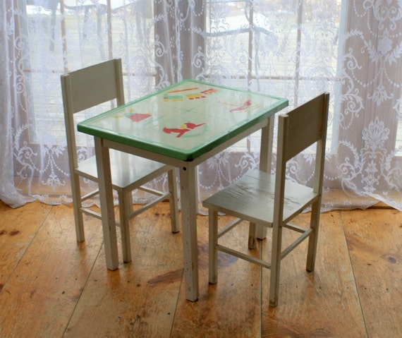 Vintage Enamel Table and Chair Set for Children