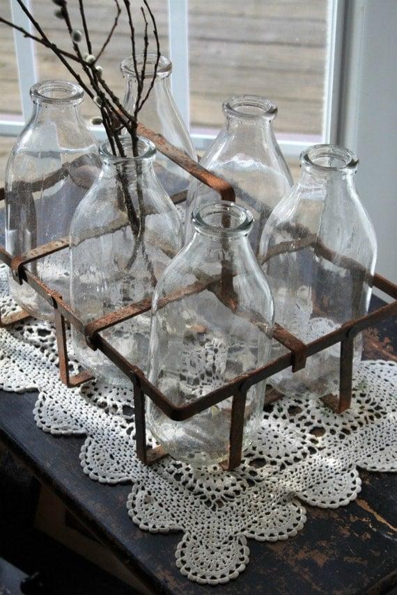 Vintage milk bottles by myvintagelane on etsy