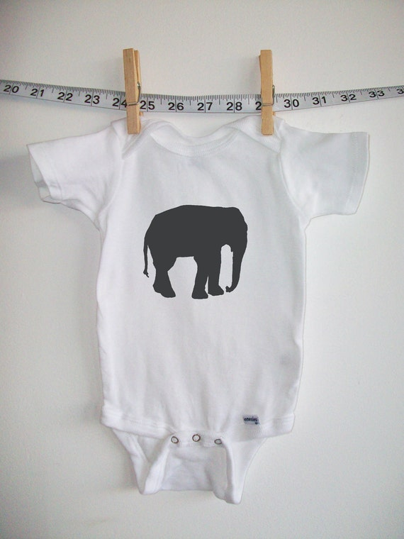 baby onesie baby clothes Elephant white with by ...