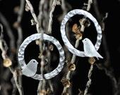 Bird on Swing Sterling Silver Round Hammered Stud Earrings- Nature Inspired-Tweeter-Handmade Earrings under 45