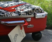Kitty or Doggie Upcycled Red Suitcase Pet Bed Black and White Floral Print