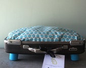 Kitty or Doggie Upcycled Little Tiara Suitcase Pet Bed with Optional Side Pillows