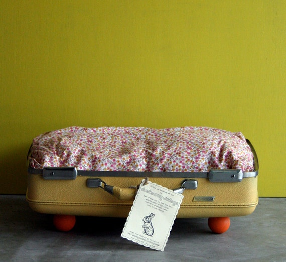 Kitty or Doggie Upcycled Yellow Suitcase Pet Bed Cute Pink Flowers