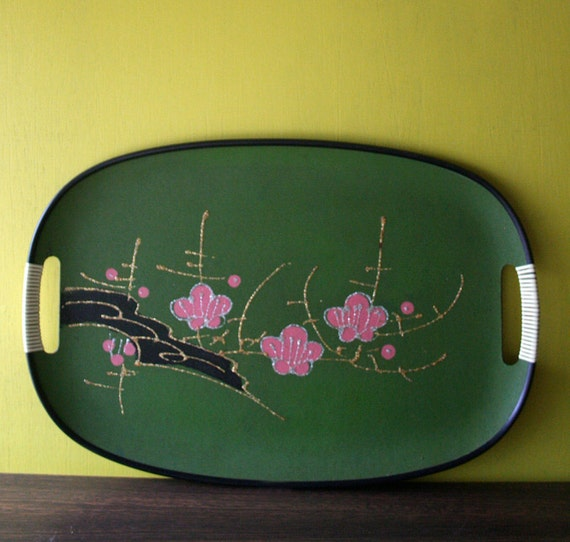 Green Asian Inspired Glitter Accent Serving Tray