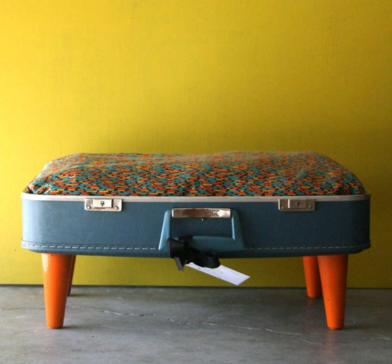 RESERVED for Danielle - Kitty or Doggie Upcycled Blue Suitcase Pet Bed with Stripes Pattern