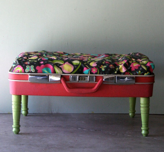 Kitty or Doggie Upcycled Pink Suitcase Pet Bed with Folksy Floral Pattern