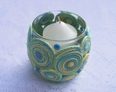 Candle Holder, Polymer Clay Decorated Votive Holder - Summery Pastels