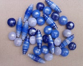 Polymer Clay Beads, Handmade, set of 34, Shimmery Blues