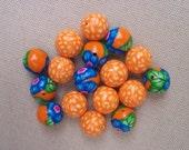 Orange Crush, polymer clay beads, set of 17, 12mm