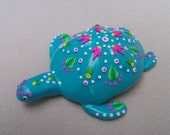 Sea Turtle, decorated sea shell, polymer clay - Hibiscus Rose