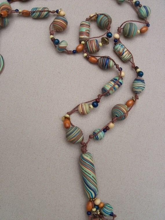 Boho-Chic  Polymer Clay and Hemp Necklace