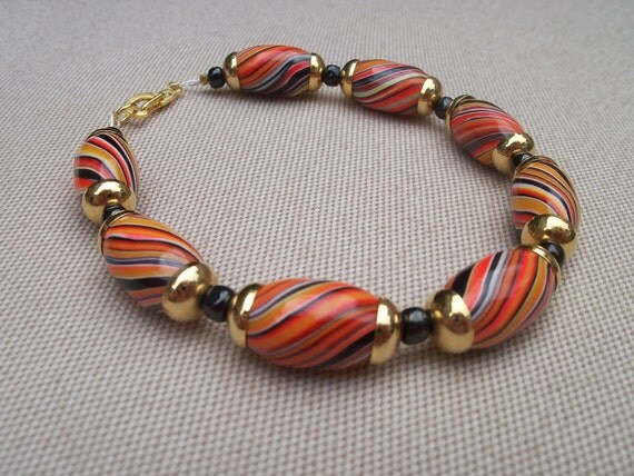 Fiery Orange Striped Polymer Clay Beaded Bracelet