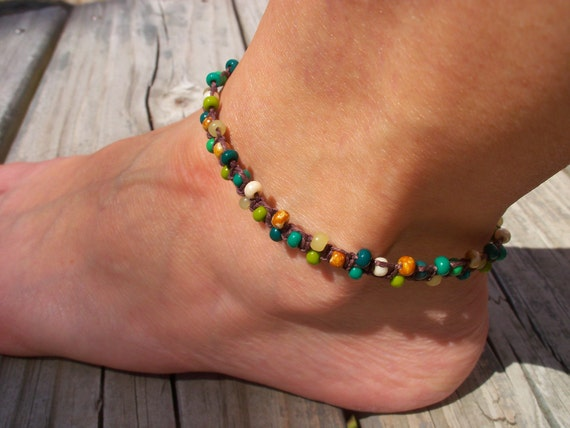 Hemp and Bead Anklet/Bracelet, earth tones, green and brown, 9 inch