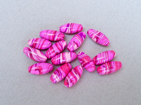 Pink Polymer Clay Swirled Beads, set of 14