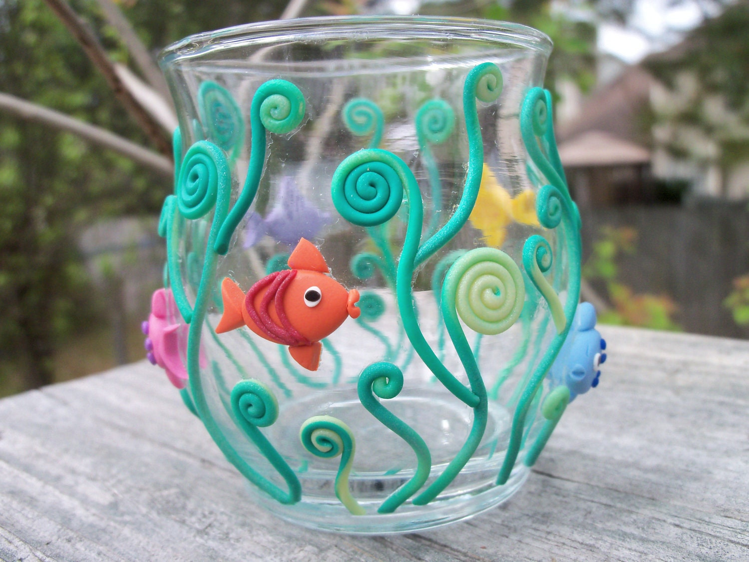Cute Diy Home Decor Ideas: Polymer Clay Decorated Votive Holder Under The Sea