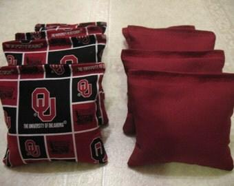Oklahoma Sooners Cornhole Bags Set of 8 ACA CERTIFIED