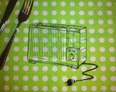 Retro Toaster -4 Screen Printed Cotton Placemats, Ready to Ship