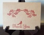 Thank You Kraft Card Set - Bird Under Branch  - Cards and Envelopes - Set of 4