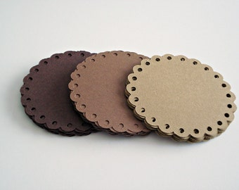 Brown Scalloped Tags, Round Doilies Tags, Kraft Tags, Hang Tags, Scrapbooking Supplies, 2.5'' ,  (36ct)