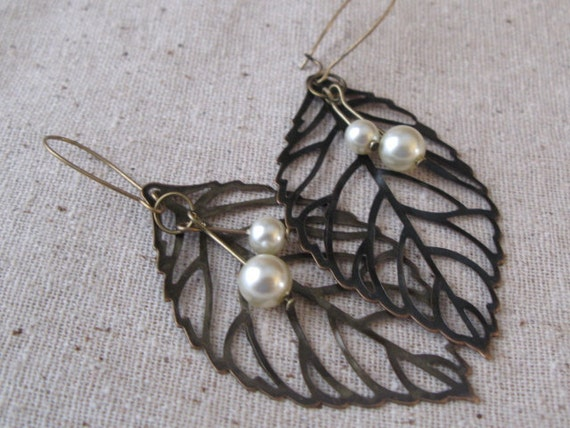 Leaves and Pearls - Bronze leaves with pearl accent earrings