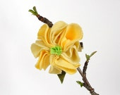 Yellow floral hair clip upcycled fabric