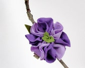 Purple flowered hair clip upcycled  fabric