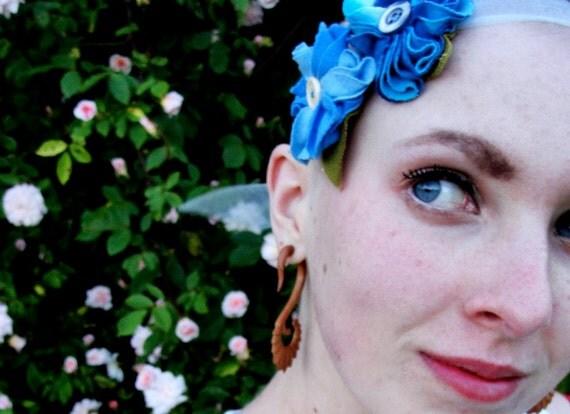 Blue flowered organdy ribbon headband