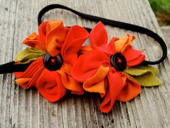 Headband autumn  floral handmade from recycled cotton
