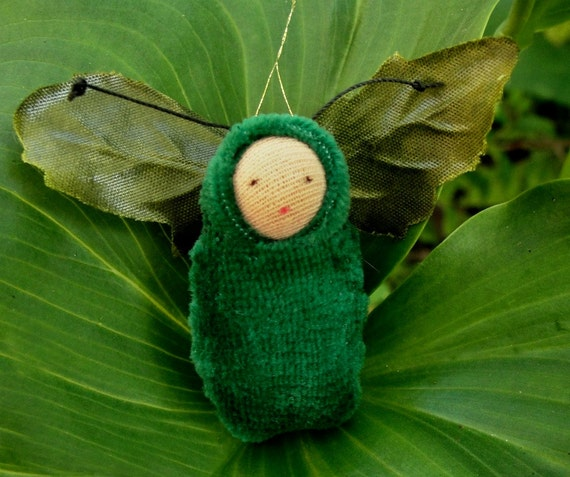 Forest green fairy baby ornament