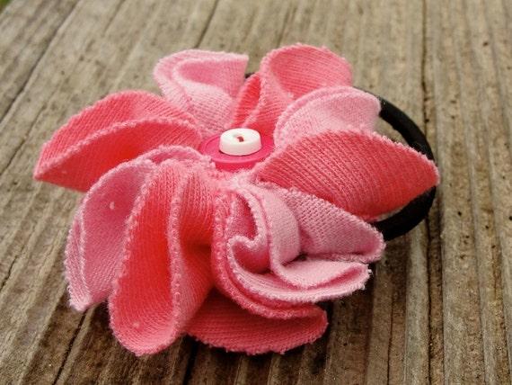 Ponytail holder  pink flower, fabric blossom