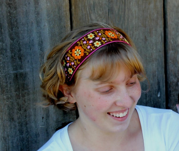 Headband floral jacquard head band vintage trim women hair accessory